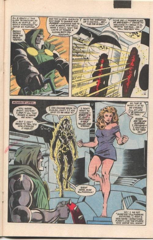 Power Bestowal (persons)–Doctor Doom bestows power to Volcana and Titania- Secret Wars I #3