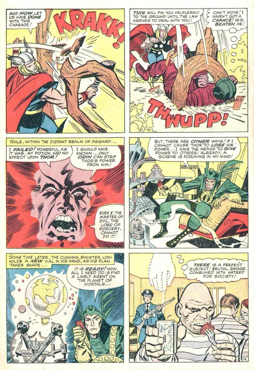 Power Bestowal (persons)–Loki bestows power to Absorbing Man-Journey into Mystery #114-6