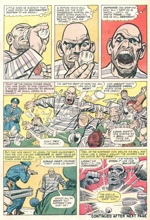 Power Bestowal (persons)–Loki bestows power to Absorbing Man-Journey into Mystery #114-7