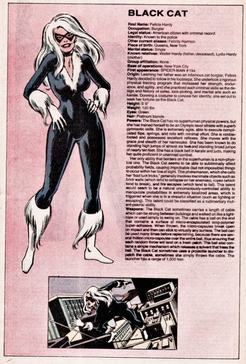 Probability Manipulation (bad)-Black Cat-Official Handbook of the Marvel Universe V1 #2