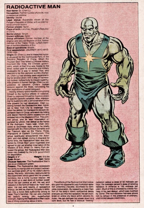 Radiation Manipulation-Radiation Man-Official Handbook of the Marvel Universe V1 #9
