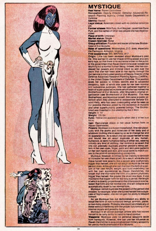 Shape Shifting-Mystique-Official Handbook of the Marvel Universe V1 #7