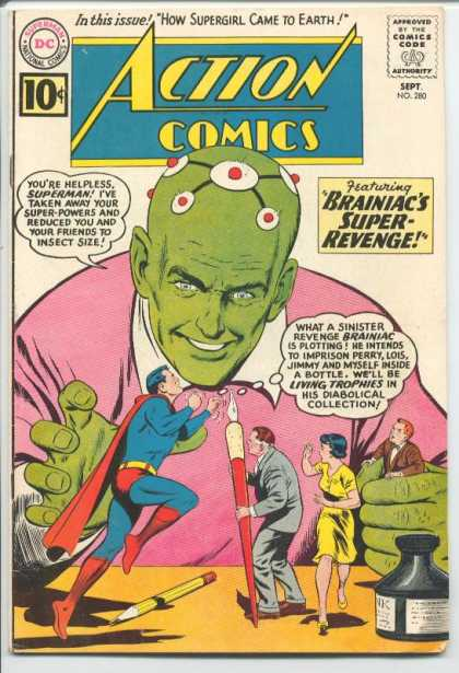 Size Reduction (object)-Brainiac shrinks Super Family-Action Comics V1 #280