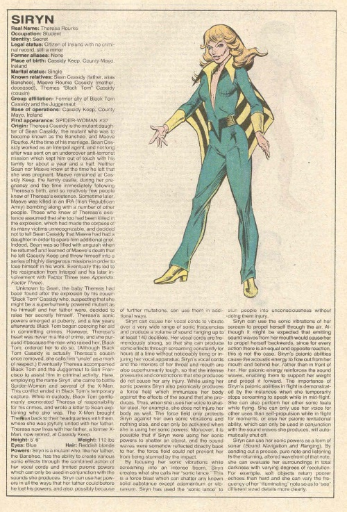 Sound Manipulation (scream)-Siryn-Official Handbook of the Marvel Universe V1 #10