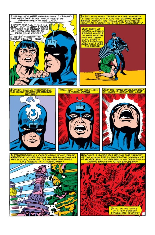 Sound Manipulation (scream)–Black Bolt destroys barrier-Fantastic Four V1 #59 (1967)