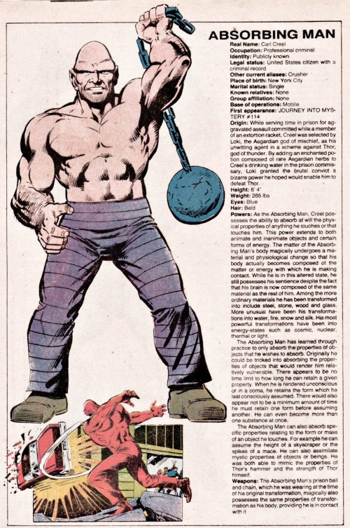 Substance Mimicry (many)-Absorbing Man-Official Handbook of the Marvel Universe V1 #1
