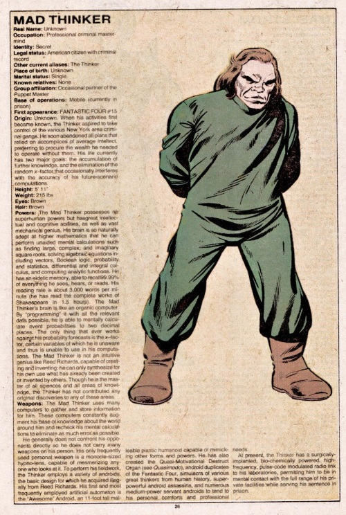 Superhuman Intelligence-Mad Thinker-Official Handbook of the Marvel Universe V1 #6