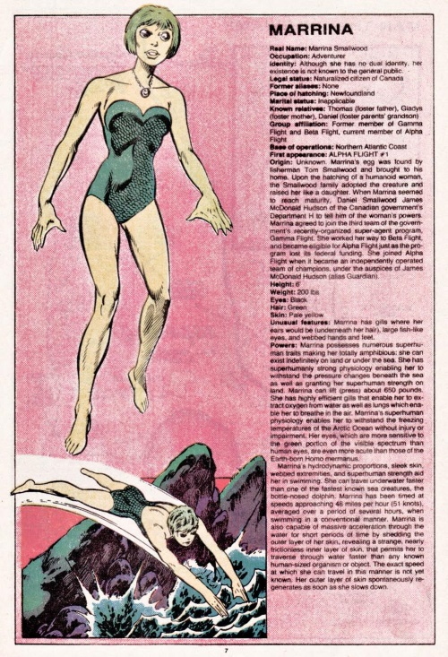Superhuman Swimming-Marrina-Official Handbook of the Marvel Universe V1 #7