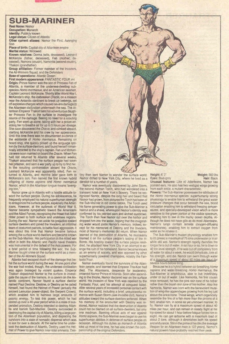 Superhuman Swimming-Submariner-Official Handbook of the Marvel Universe V1 #10