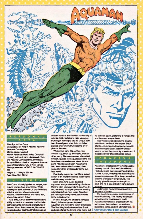 Superhuman Swimming–Aquaman-Who's Who #1 (1985)