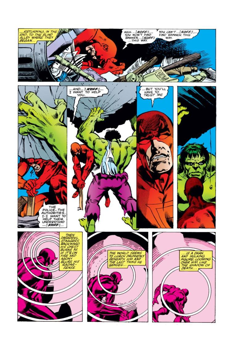 Superhuman Will Power–Daredevil vs Hulk-Daredevil V1 #163 (1980)
