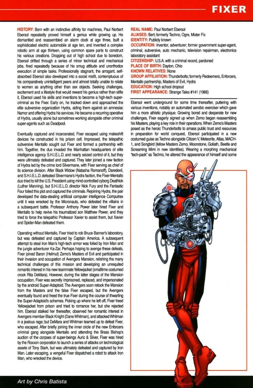 Technopathy-Fixer (Marvel)-All-New OHOTMU A to Z #4