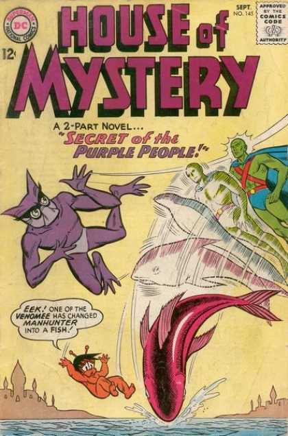 Transmutation (animal)-OS-Martian Manhunter turned into fish-House of Mystery V1 #145