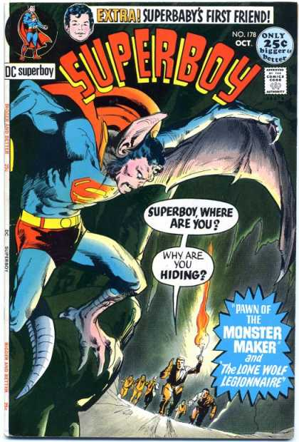 Transmutation (animal)-Superboy turned into bat-Superboy V1 #178
