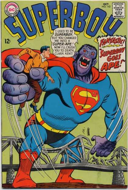 Transmutation (animal)-Superboy turned into Gorilla-Superboy V1 #142