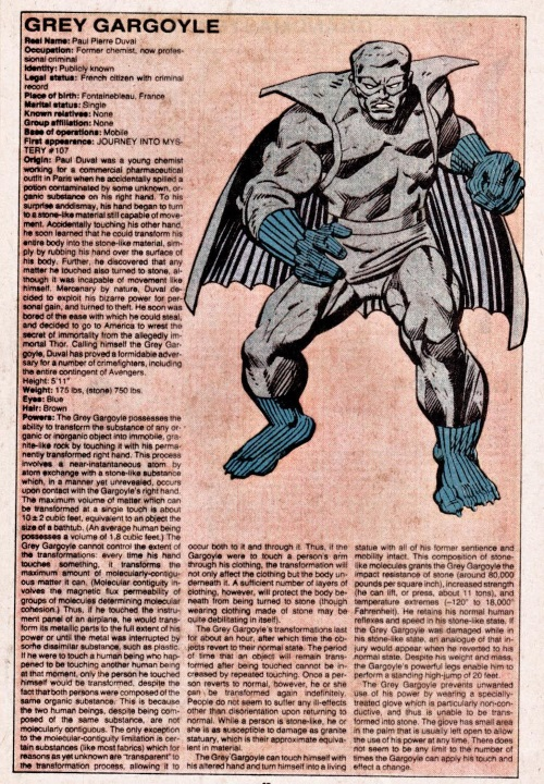 Transmutation (petrification)-Grey Gargoyle-Official Handbook of the Marvel Universe V1 #4