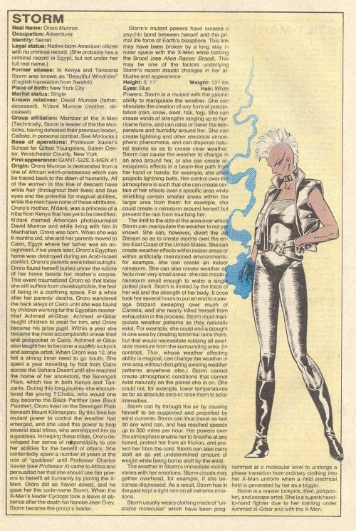 Weather manipulation–Storm-Official Handbook of the Marvel Universe V1 #10