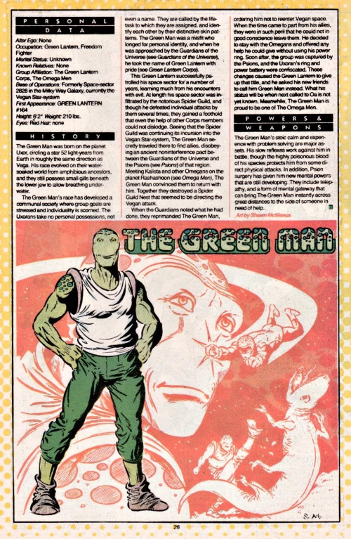 Amphibian Mimicry-The Green Man-DC Who's Who #9 (1985)