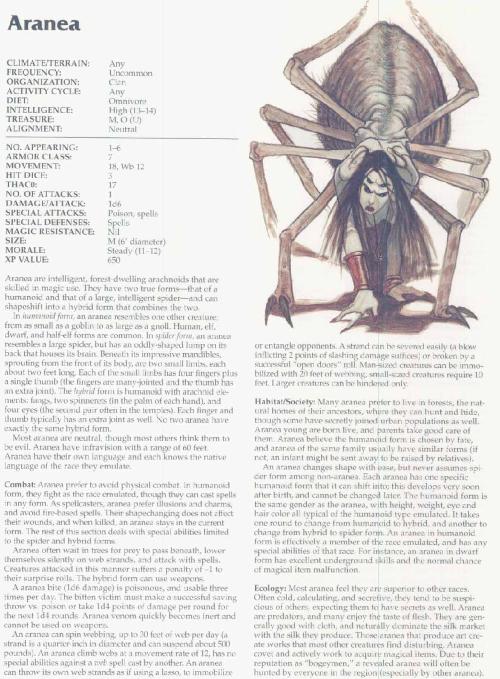 arachnid-mimicry-aranea-tsr-2166-monstrous-compendium-annual-volume-3