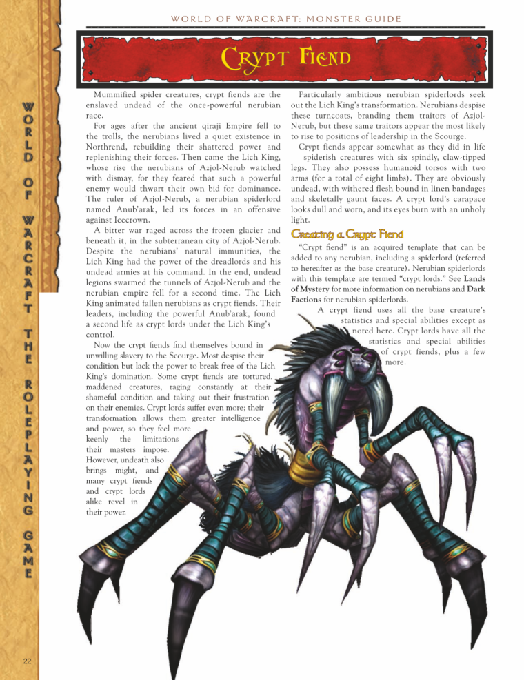 Arachnid Mimicry-WOW-Crypt Fiend-World of Warcraft Monster Guide