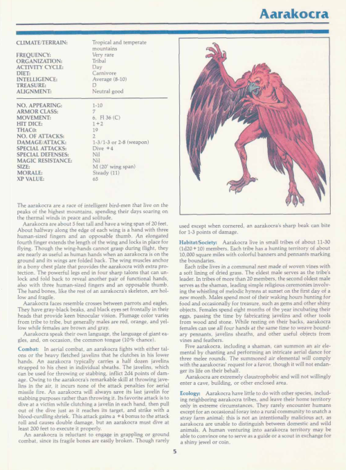 avian-mimicry-aarakocra-tsr-2140a-monstrous-manual