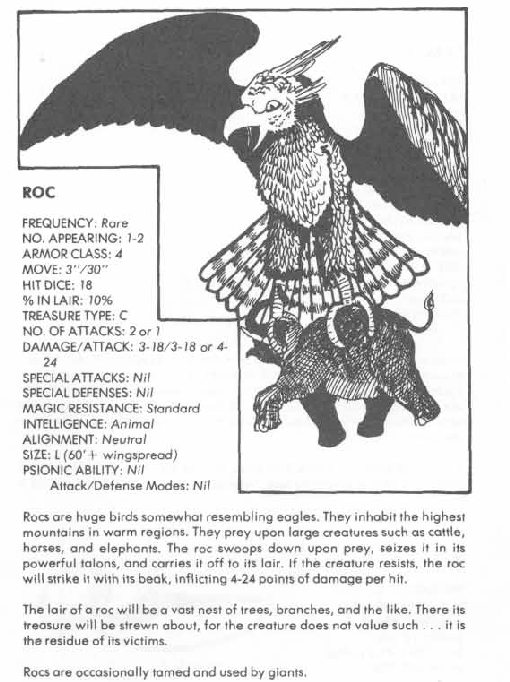 Avian Mimicry-D&D-Roc-AD&D 1st-Monster Manual