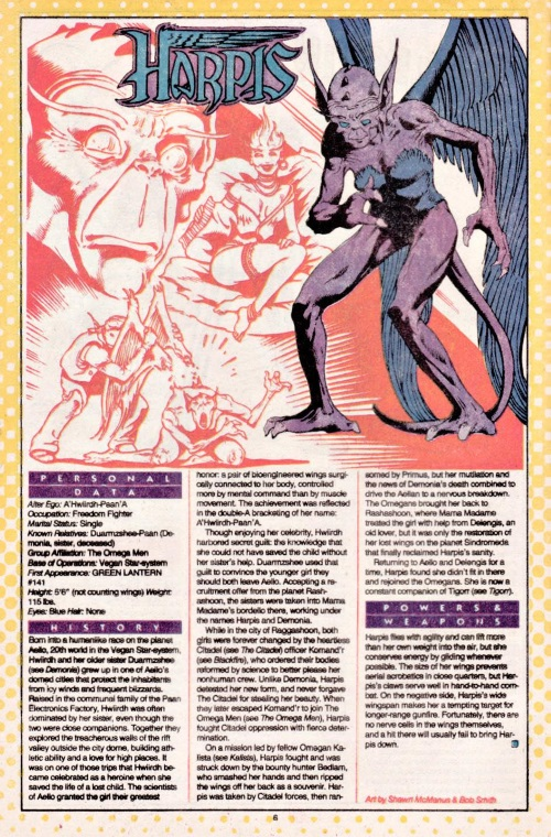 Avian Mimicry-Harpis-DC Who's Who #10 (1985)