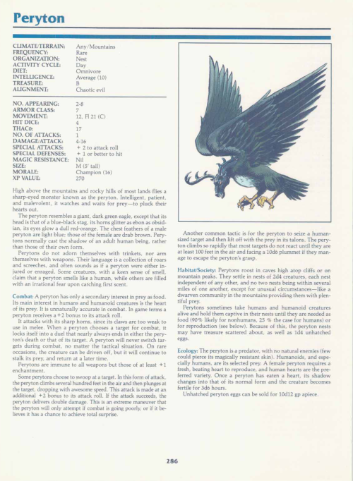 avian-mimicry-peryton-tsr-2140a-monstrous-manual