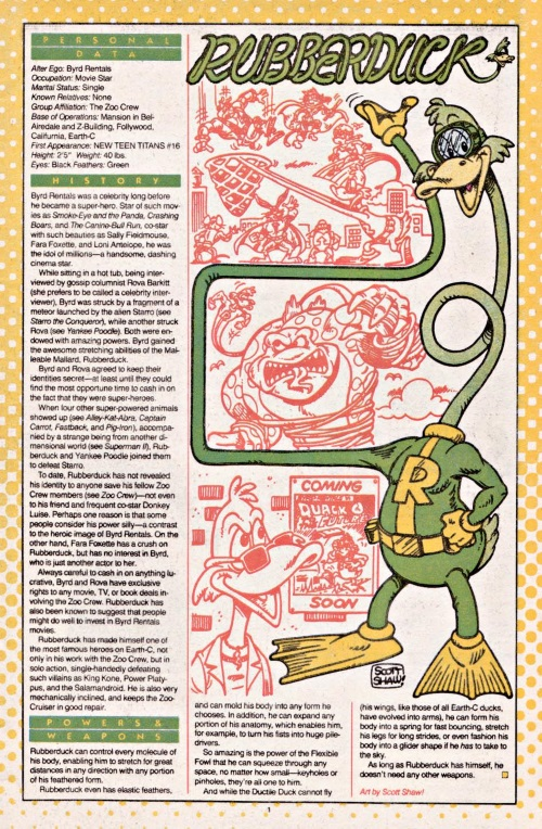 Avian Mimicry-Rubberduck-DC Who's Who #20 (1986)