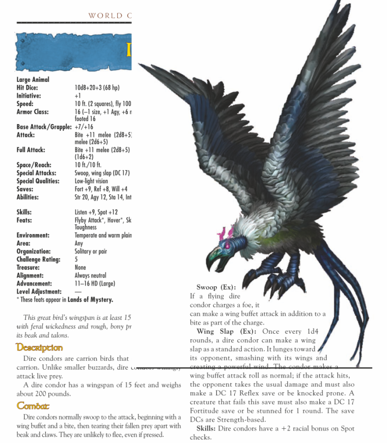 Avian Mimicry-WOW-Dire Condor-World of Warcraft Monster Guide