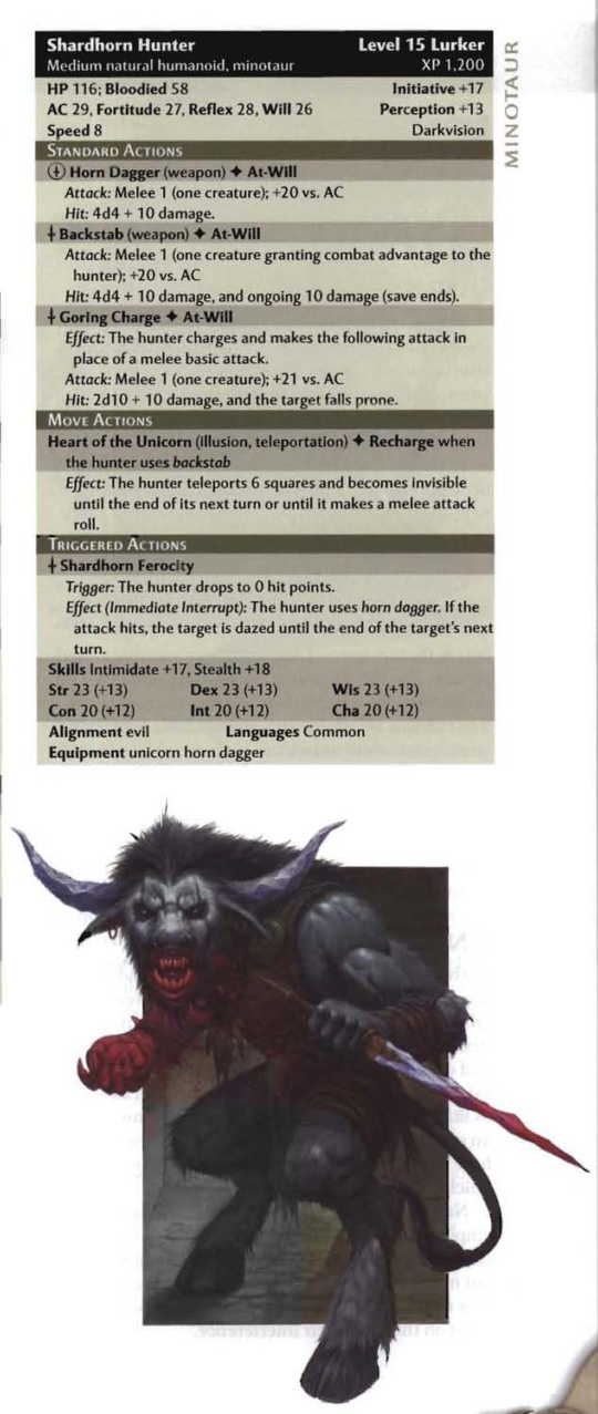 Bovine Mimicry-Shardhorn Hunter-Minotaur-D&D 4th Edition - Monster Manual 3
