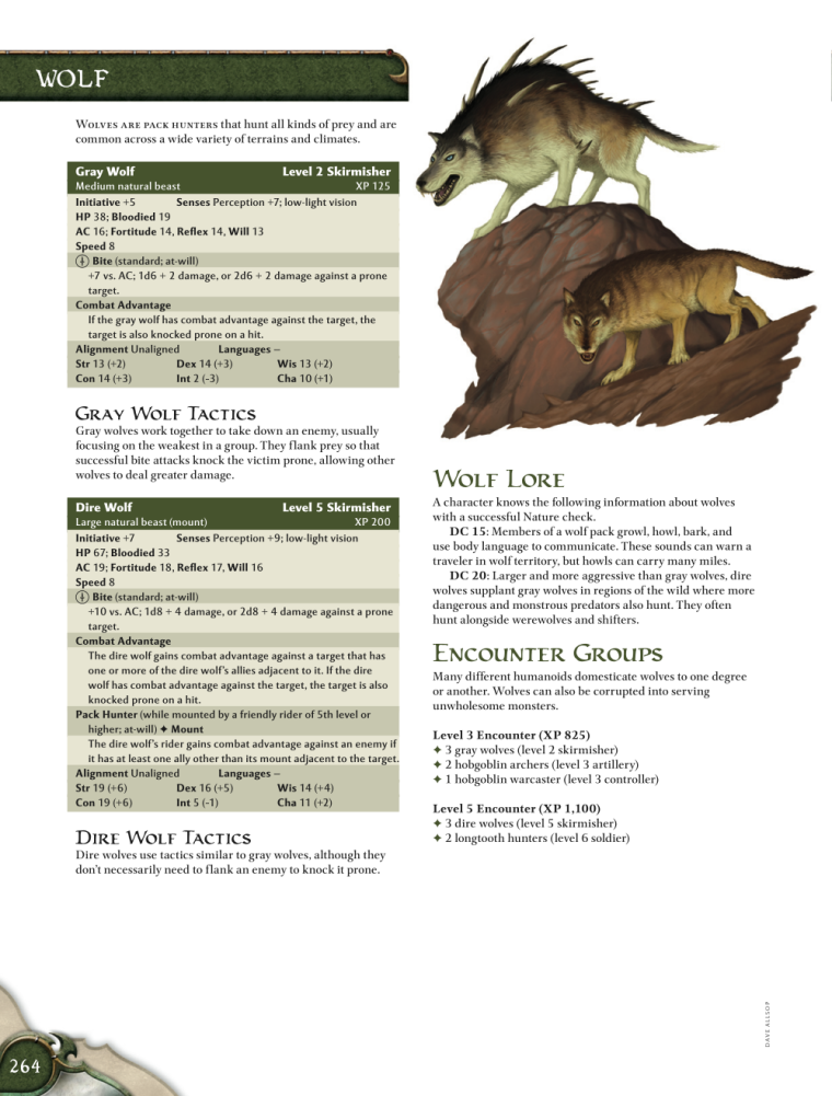 Canidae Mimicry-D&D-Gray Wolf-D&D 4th Edition - Monster Manual 1