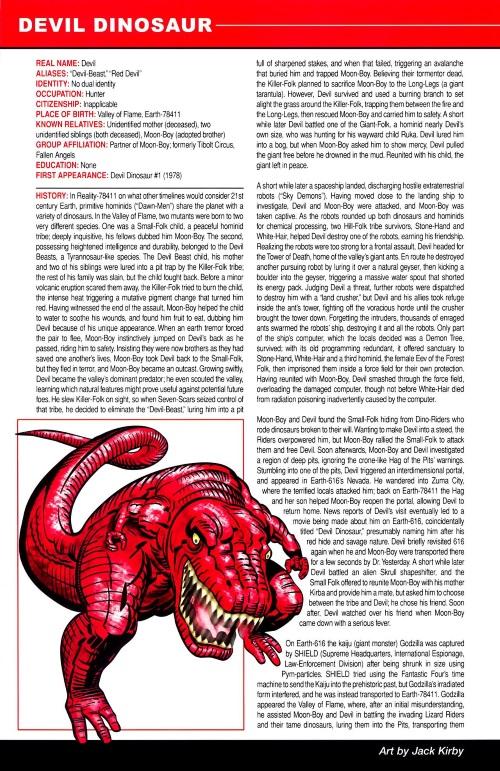 Dinosaur Mimicry-Devil Dinosaur-Marvel Pets Handbook #01