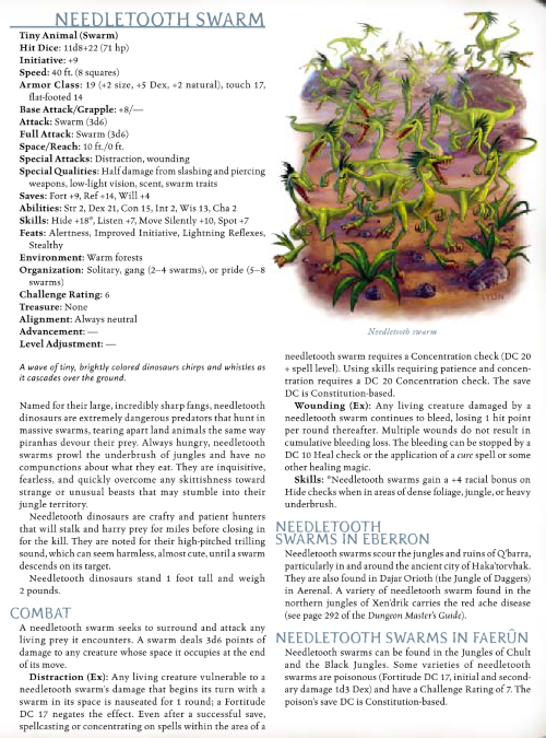 dinosaur-mimicry-needletooth-swarm-dd-3-5-monster-manual-iii