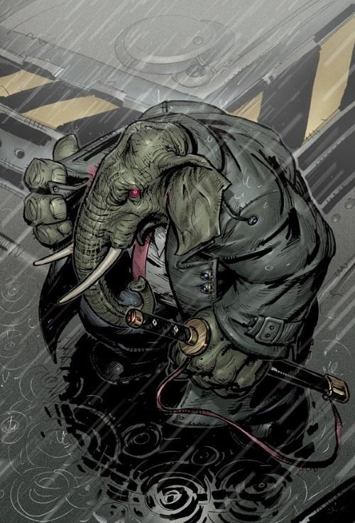 Elephantidae Mimicry-Ebony Hide-Elephantmen (Image)