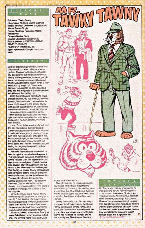 Felidae Mimicry-Mr. Twaky Tawny-DC Who's Who #15 (1986)