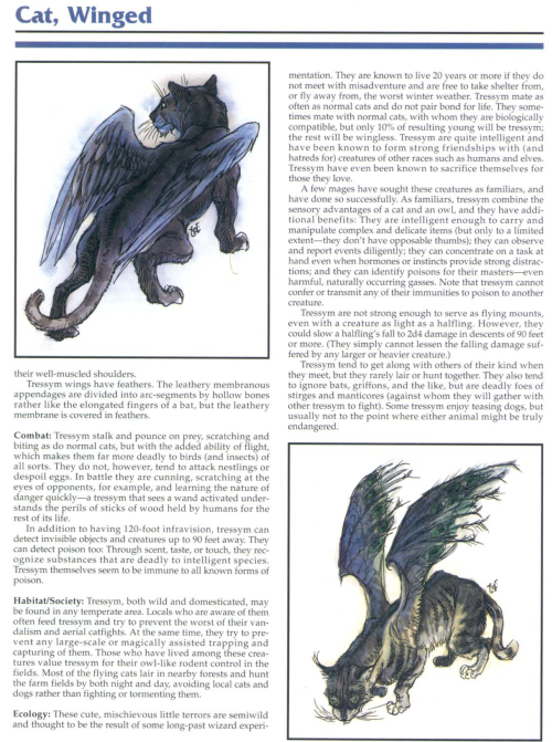 felidae-mimicry-winged-cat-tsr-2145-monstrous-compendium-annual-volume-1