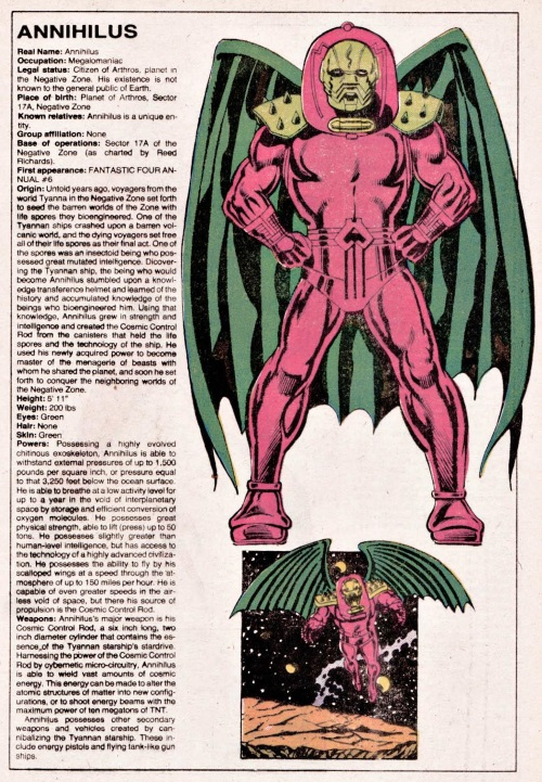 Insect Mimicry–Annihilus-Official Handbook of the Marvel Universe V1 #1