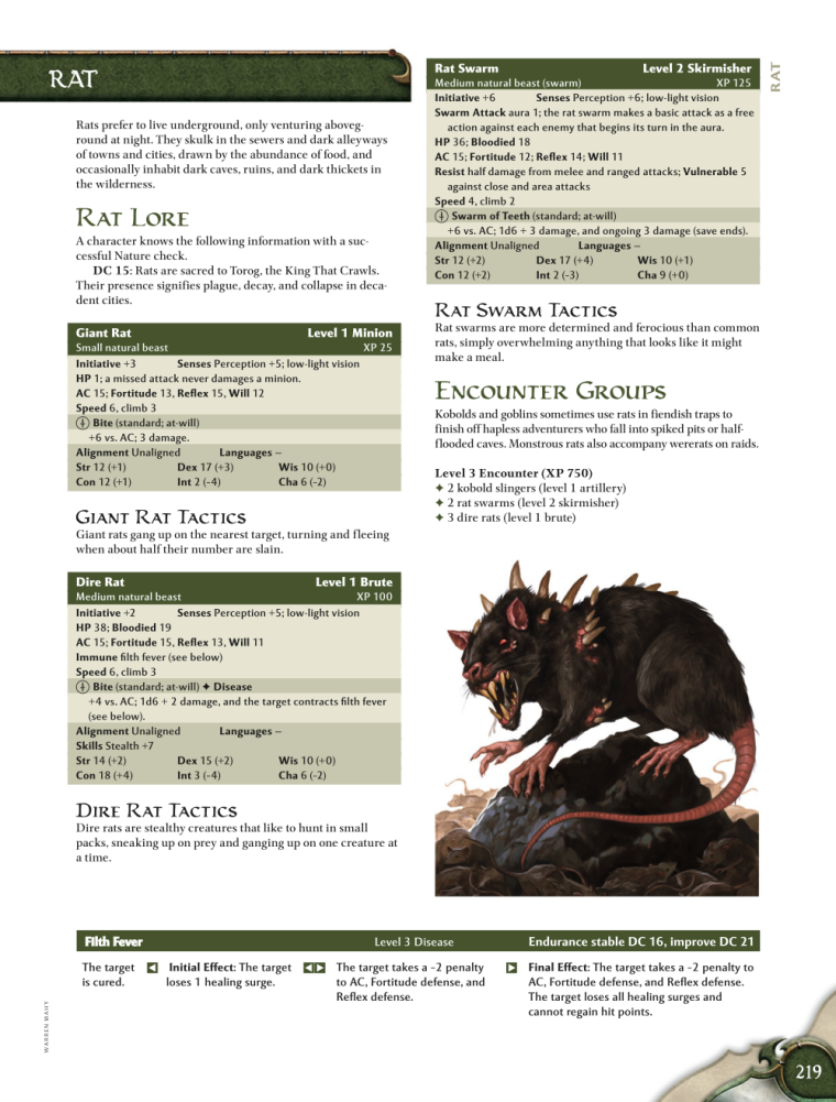 Rodent Mimicry-D&D-AN-Dire Rat-D&D 4th Edition - Monster Manual 1