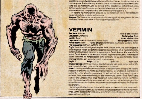 Rodent Mimicry-Marvel-Vermin-Official Handbook of the Marvel Universe V1 #12