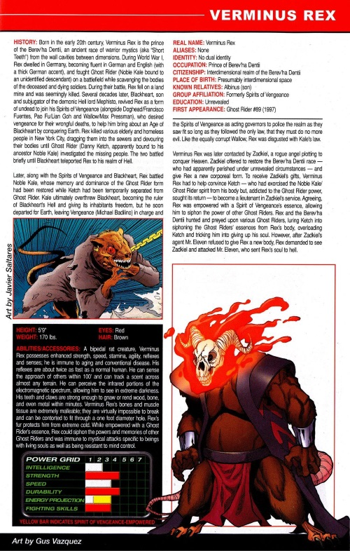 Rodent Mimicry-Marvel-Verminus Rex-OHOTMU A - Z Update #2