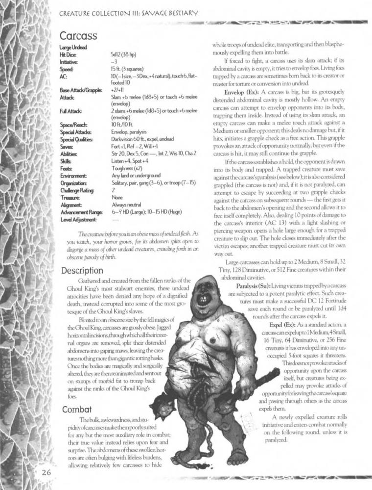 Zombie Mimicry-D&D-Carcass-Creature Collection III. Savage Bestiary