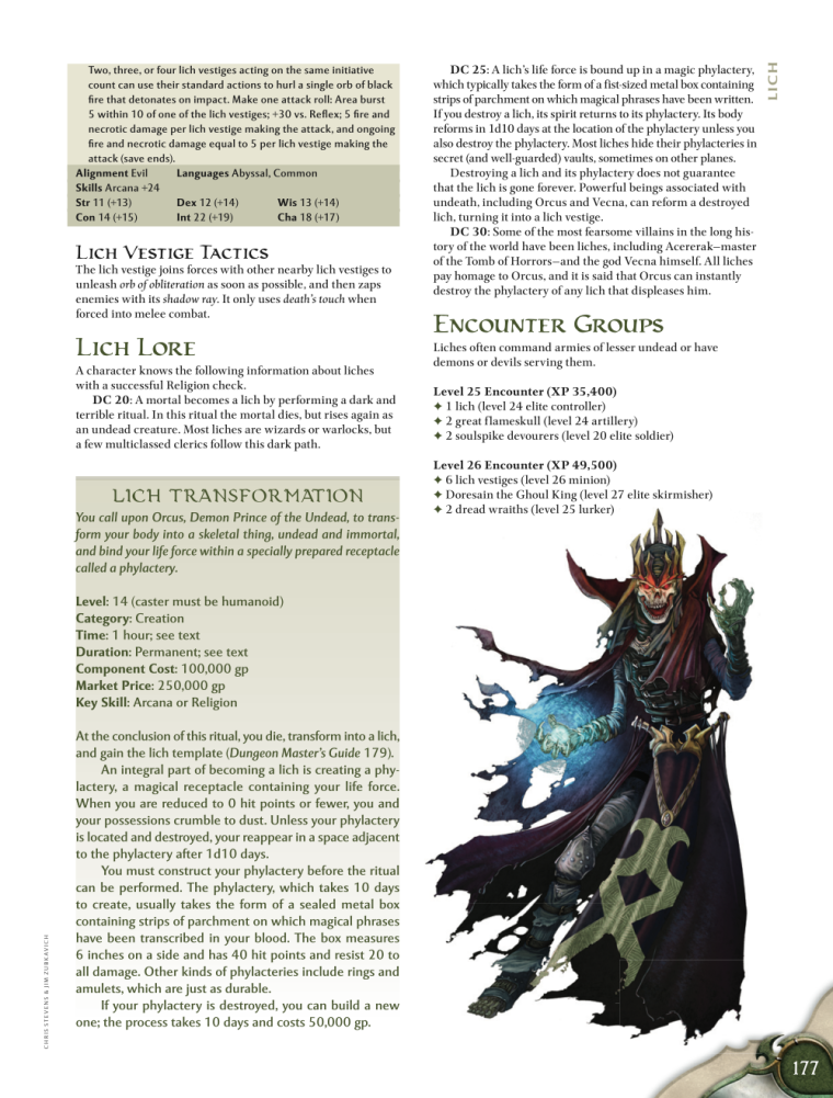 Zombie Mimicry-D&D-Lich-D&D 4th Edition - Monster Manual 1