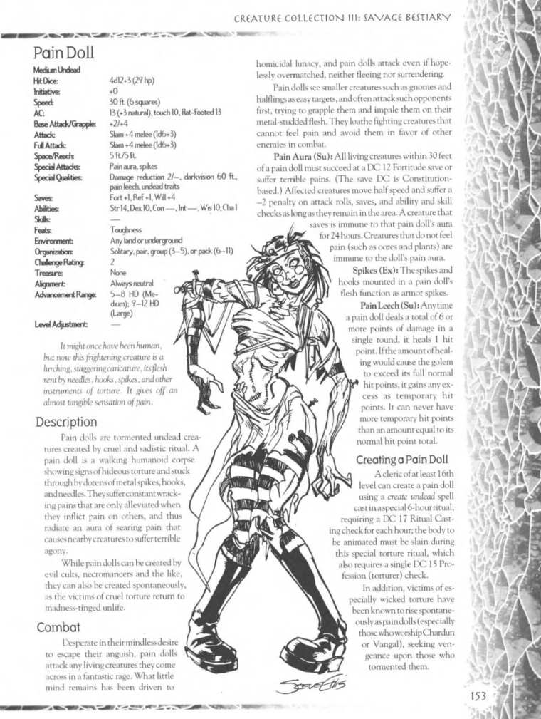 Zombie Mimicry-D&D-Pain Doll-Creature Collection III. Savage Bestiary