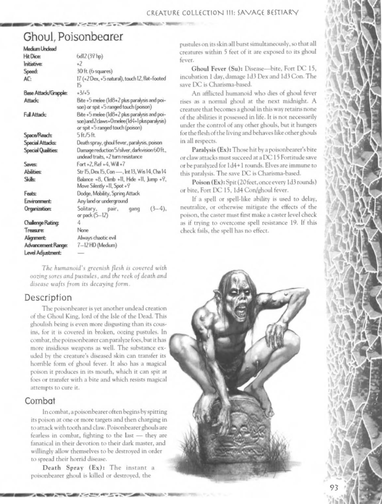 Zombie Mimicry-D&D-Poisonbearer Ghoul-Creature Collection III. Savage Bestiary