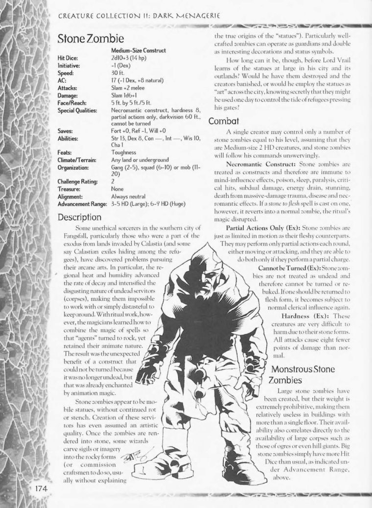 Zombie Mimicry-D&D-Stone Zombies-Creature Collection II. Dark Menagerie