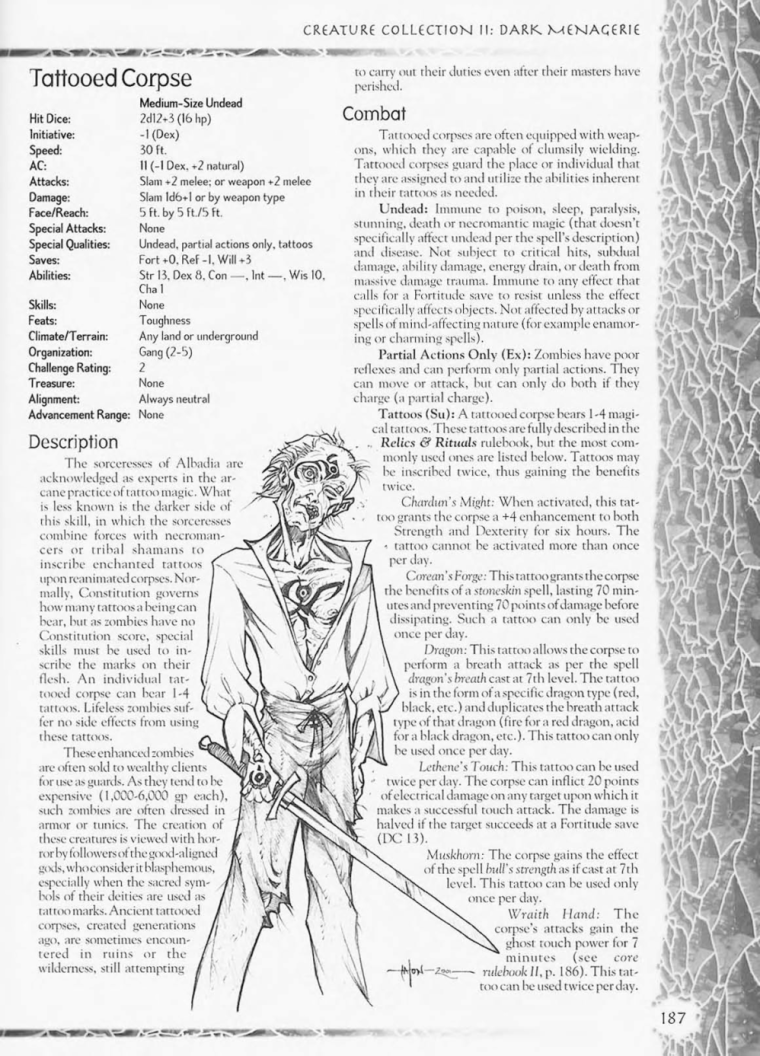 Zombie Mimicry-D&D-Tattooed Corpse-Creature Collection II. Dark Menagerie