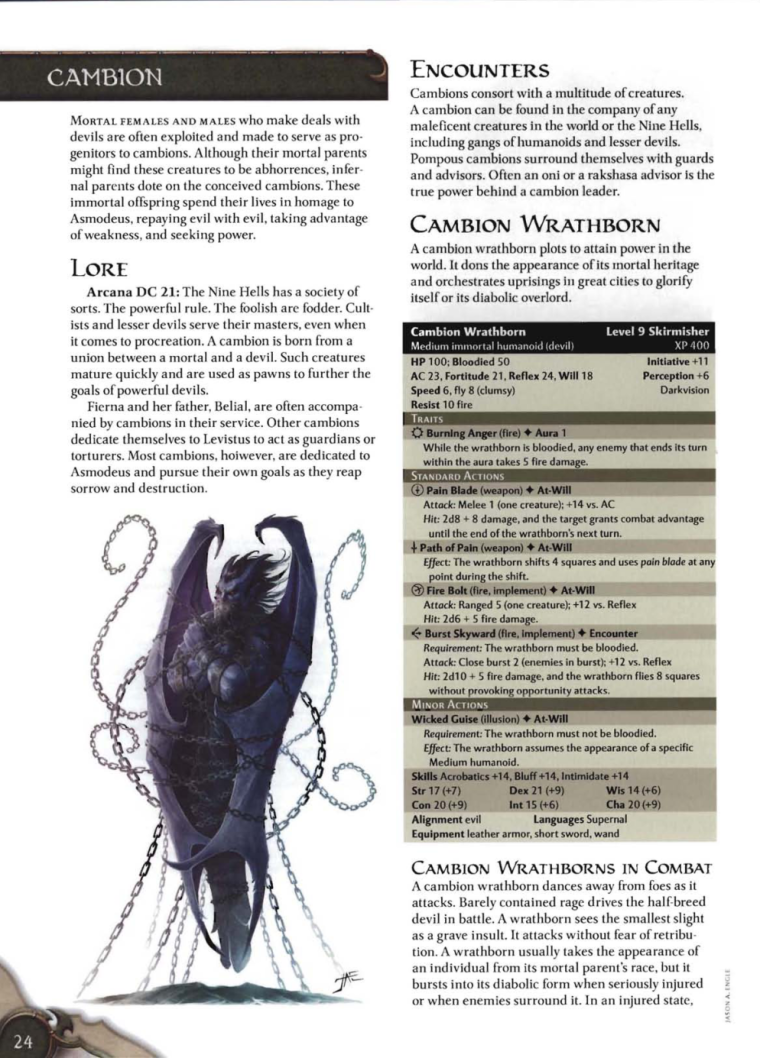 Hybrid Mimicry-D&D-Cambion-D&D 4th Edition - Monster Manual 3