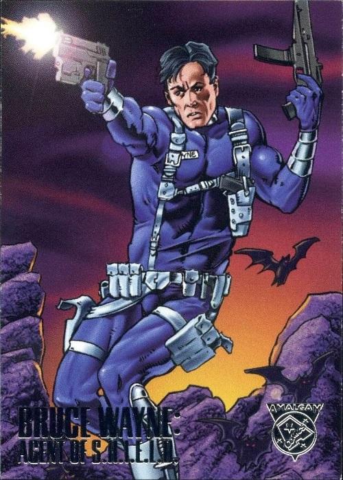 Merging (universes)-Bruce Wayne Agent of SHIELD-Amalgam trading cards