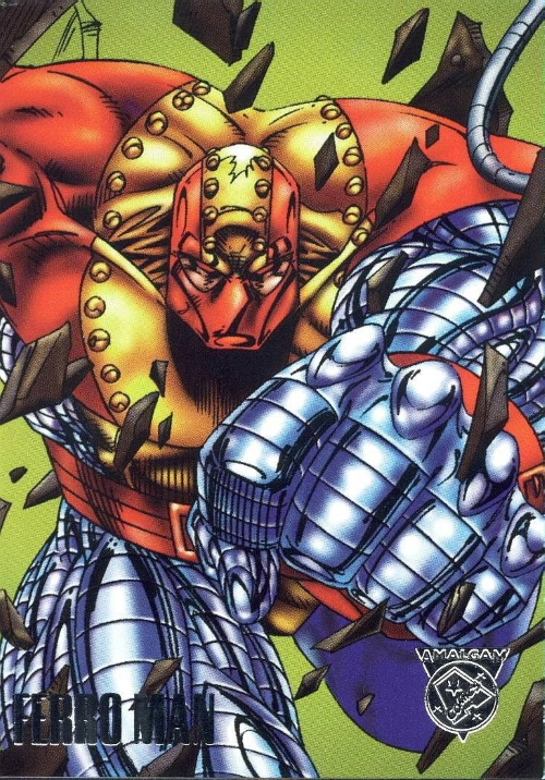 Merging (universes)-Ferro Man-Amalgam trading cards